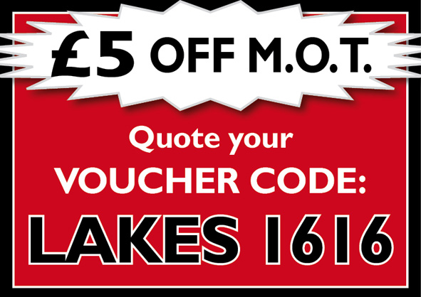 £5 Off MOT with code 'Lakes 1616'